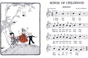 Songs of Childhood by T. Giddings, W. Earhart, R. Baldwin; published by Ginn and Company, page sample