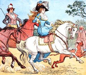 A fine lady upon a white horse illustration by Richard Caldecott