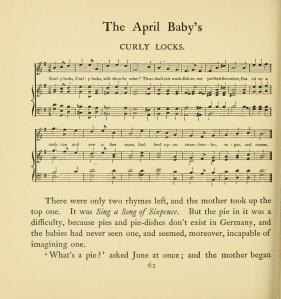 Curly Locks music from The April Baby's Book by Kate Greenaway